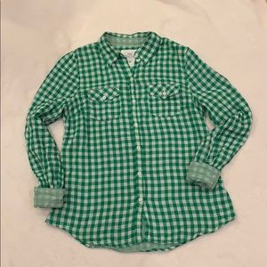 L.O.G.G.(H&M) Green Checked Button Down Shirt